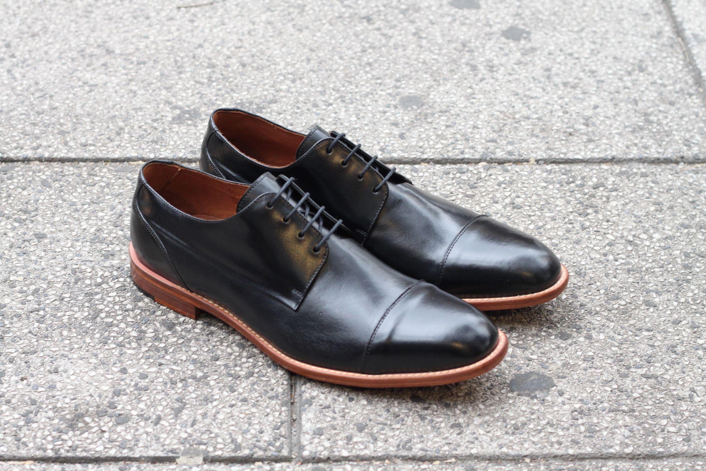 1de6685abd Sapato Social Masculino Derby CNS em couro Preto com sola de couro e forro  em couro