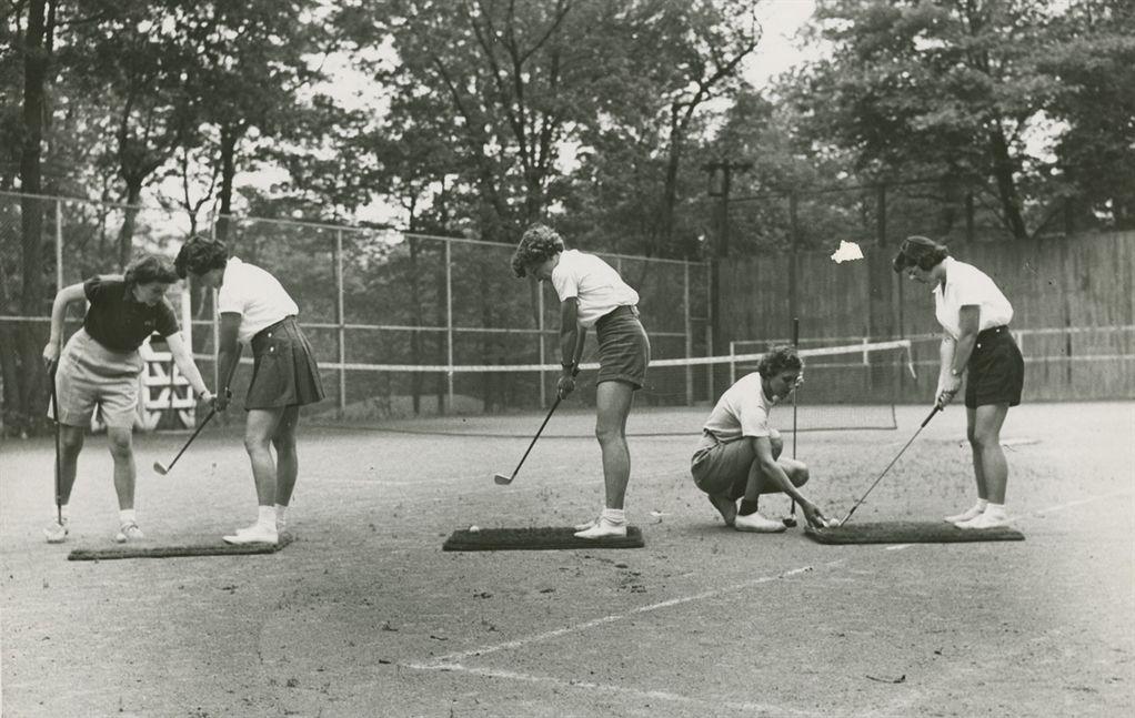 Summer Camp Golf 1940s: A women's golf lesson at Camp Sebago