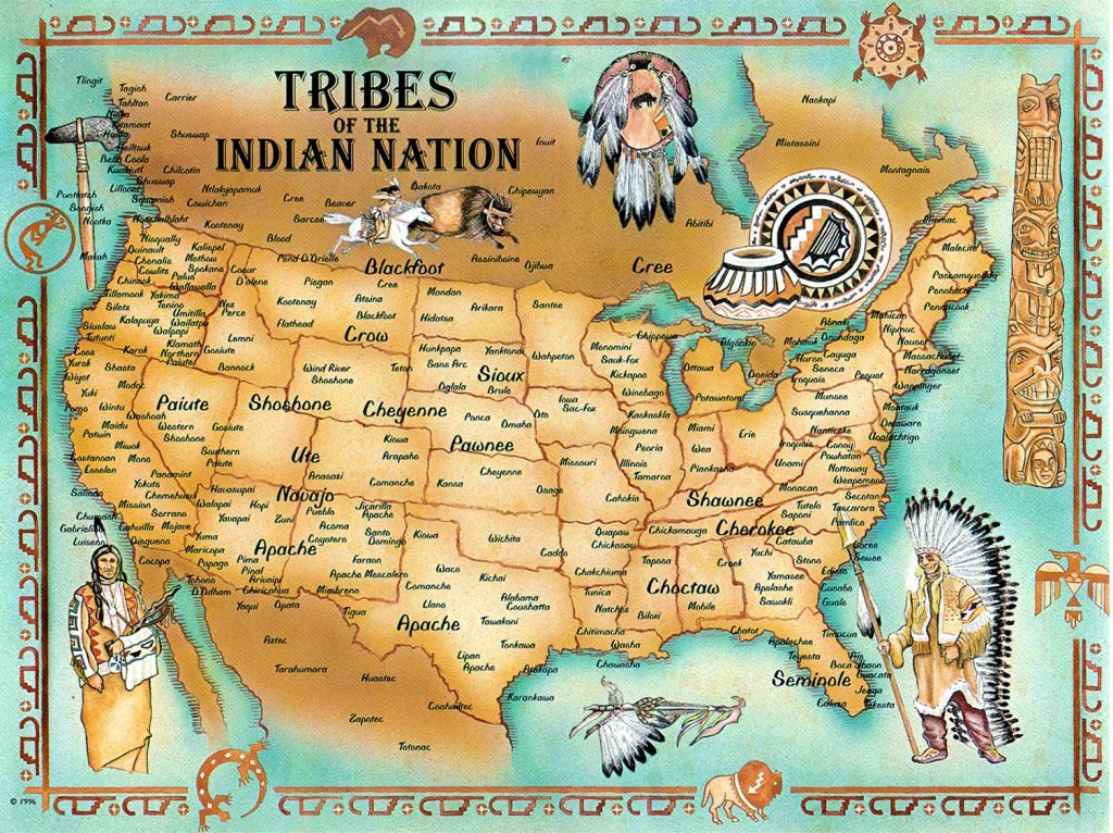 Map Of Native American Tribe Locations US History Scavenger - Map of us tribes