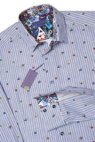 Scooter, a blue printed pinstripe men's shirt – Nineteenthirty Menswear