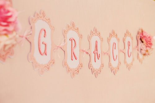 pretty in pink prima ballerina birthday party for grace lace personalized banner across the backdrop of the dessert table