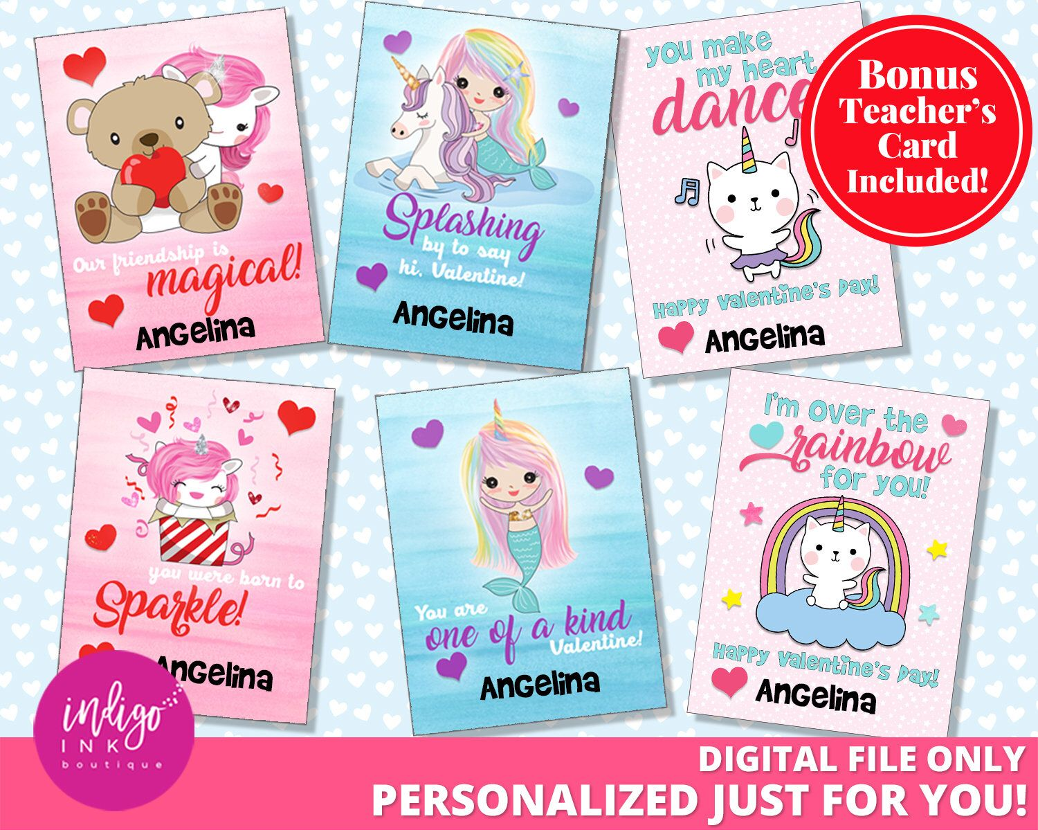 Kids Valentine Cards Caticorn Valentines Day Cards