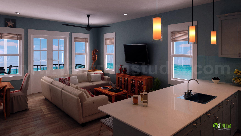 Diseno De La Sala De Estar Para El Interior La Casa De Playa With