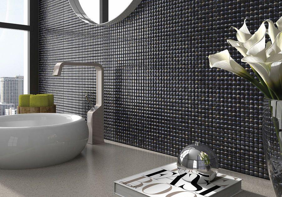 Indoor tile / wall-mounted / glass / plain - PEARL BATHROOM - Vidrepur -