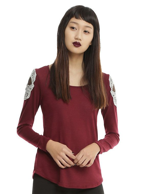 Burgundy Shoulder Crochet Skull Girls Top | Shoulder, Pullover and ...