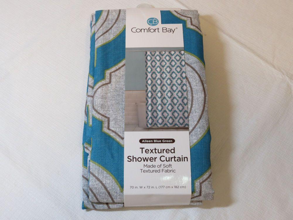 New Comfort Bay Textured Shower Curtain Aileen Blue Green Soft