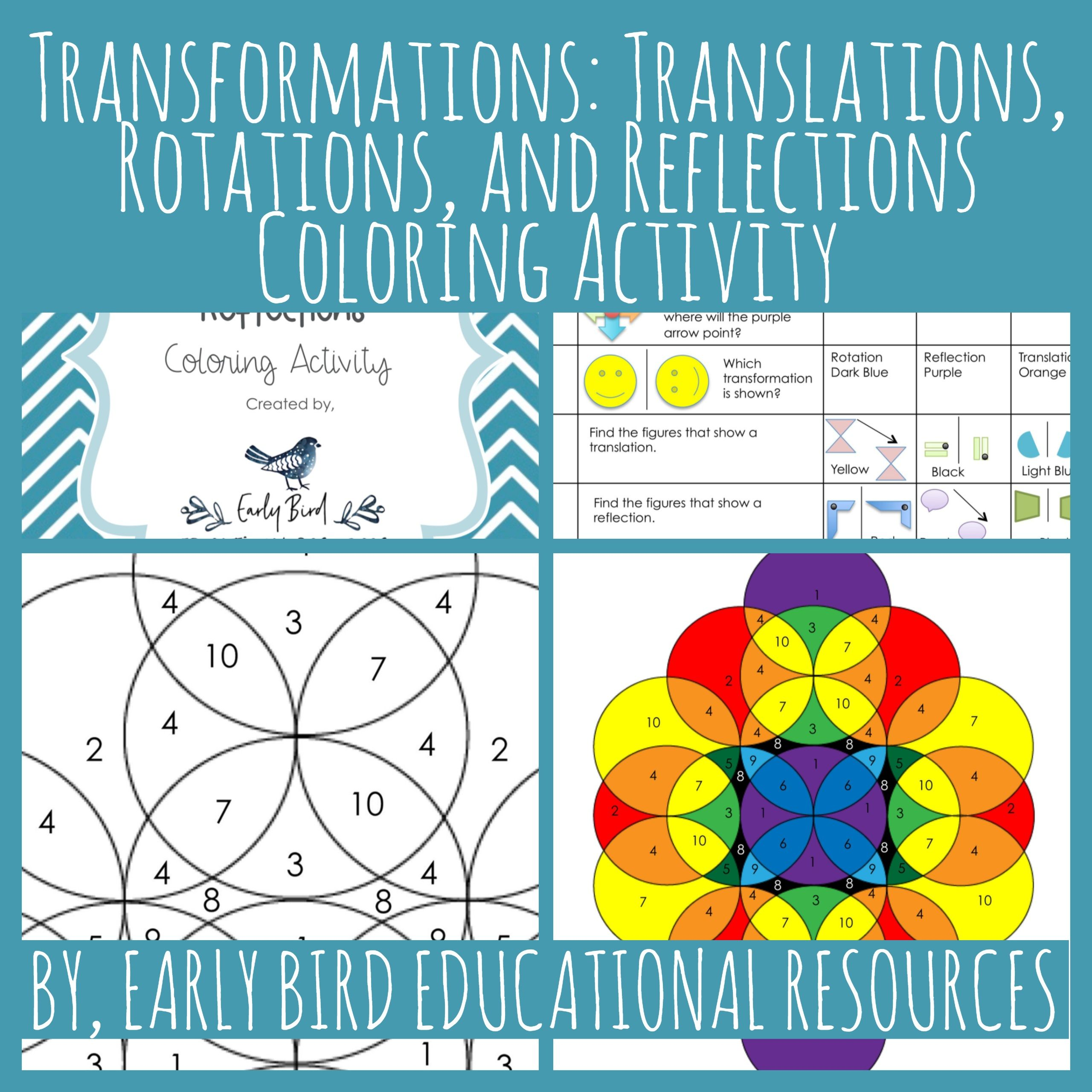 Transformations: Translations, Rotations, and Reflections Coloring ...