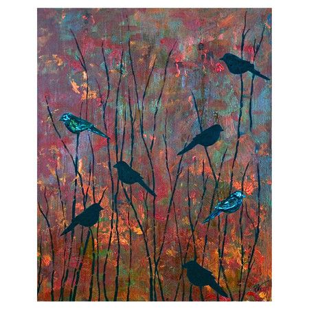Celebrate naturally chic appeal with this eye-catching canvas print, featuring birds perched amongst fall-hued trees. Display it in your parlor for a serene ...