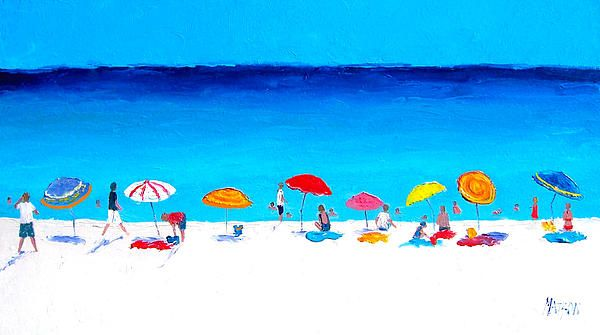Beach painting, Beach umbrellas, Beach decor, coastal decor, beach house style, coastal living, beach home interiors, beach house decorating, beach prints.