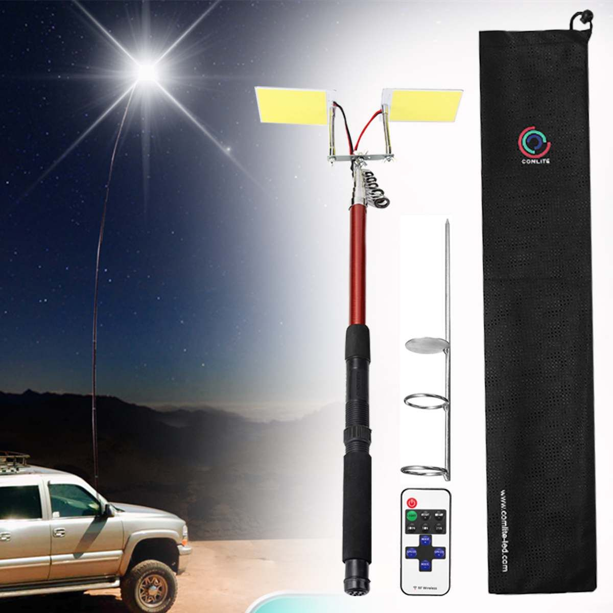 3 75m 12v Telescopic Led Fishing Rod Outdoor Lantern Camping Lamp Light With Remote Control For Road Trip Self Driv In 2020 Camping Lamp Outdoor Lanterns Outside Lamps