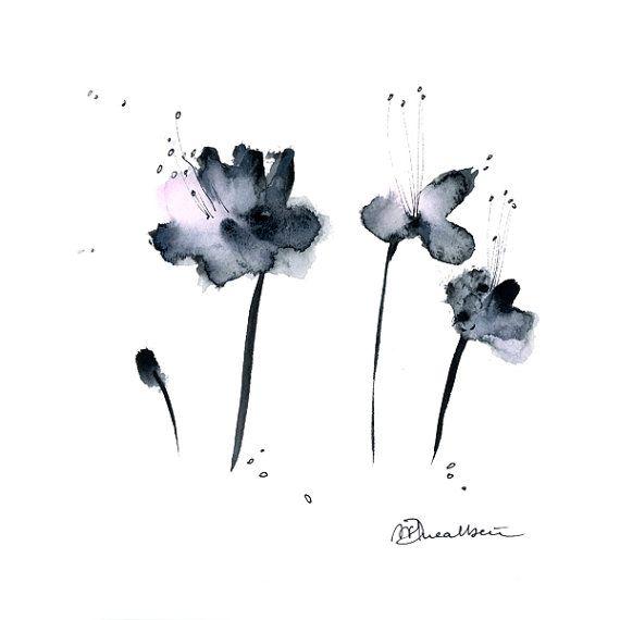 Black Flower Watercolor Art By Tae Lee: Grey Flowers Watercolor Painting Original Abstract Art