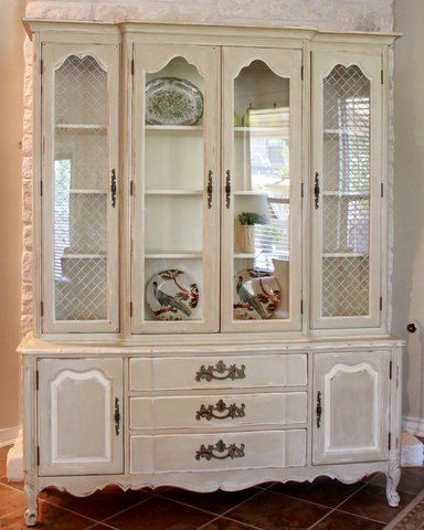 Vintage French Country China Cabinet White Grey Annie Sloan Antique Cream Dining Kitchen
