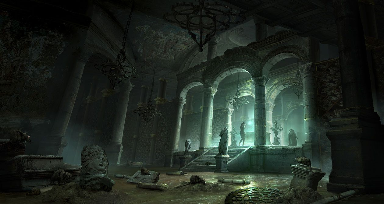 Flooded Archive Chamber With Images Environment Concept Art