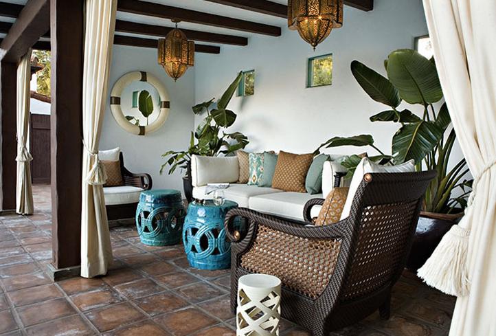 decks patios outdoor cane furniture turquoise blue garden stools