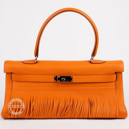 43c857b85766 42cm Orange Kelly Shoulder Fringe. A rarely seen bag imagined by Jean Paul  Gaultier this