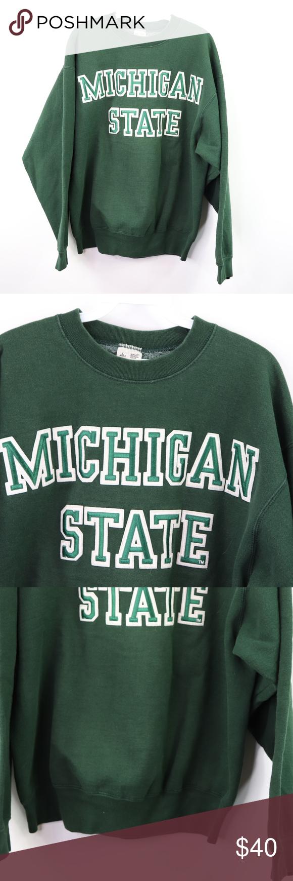 90s Mens Large Michigan State Crewneck Sweater Crew Neck Sweater Crew Neck Sweatshirt Crew Neck [ 1740 x 580 Pixel ]