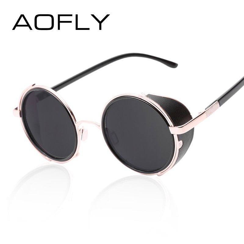 a21a2d5317 AOFLY Vintage Steampunk Designer Sunglasses Side Visor Circle Lens Round  Sun Glasses Women Men Retro Glasses Oculos Goggles