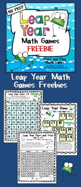 FREEBIE: Leap Year Math Games Freebie - 3 printable math games to ...