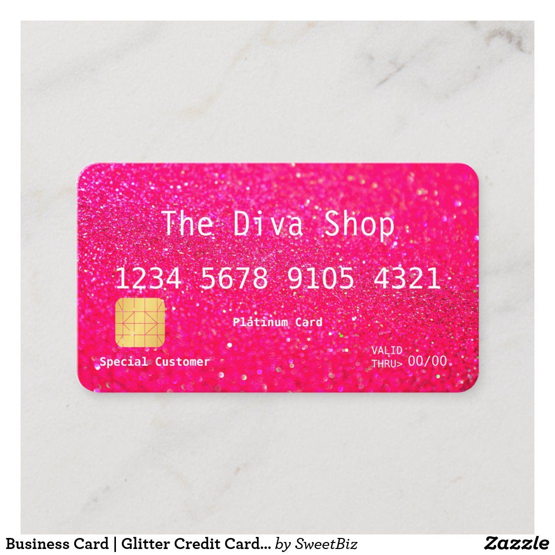 Business card glitter credit card pink in