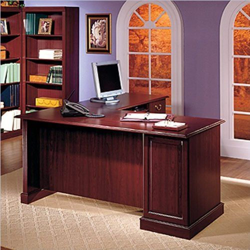 Bush Furniture Saratoga L Shape Executive Desk With Bookcase And File Drawer In Cherry By 976 10 Wood