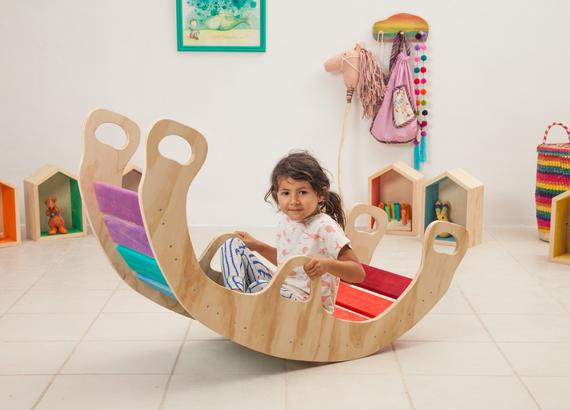 7e2d1031f9 Not for Holidays delivery  Double Rainbow Rocker  Wood Rocking Boat    Wooden Rocker