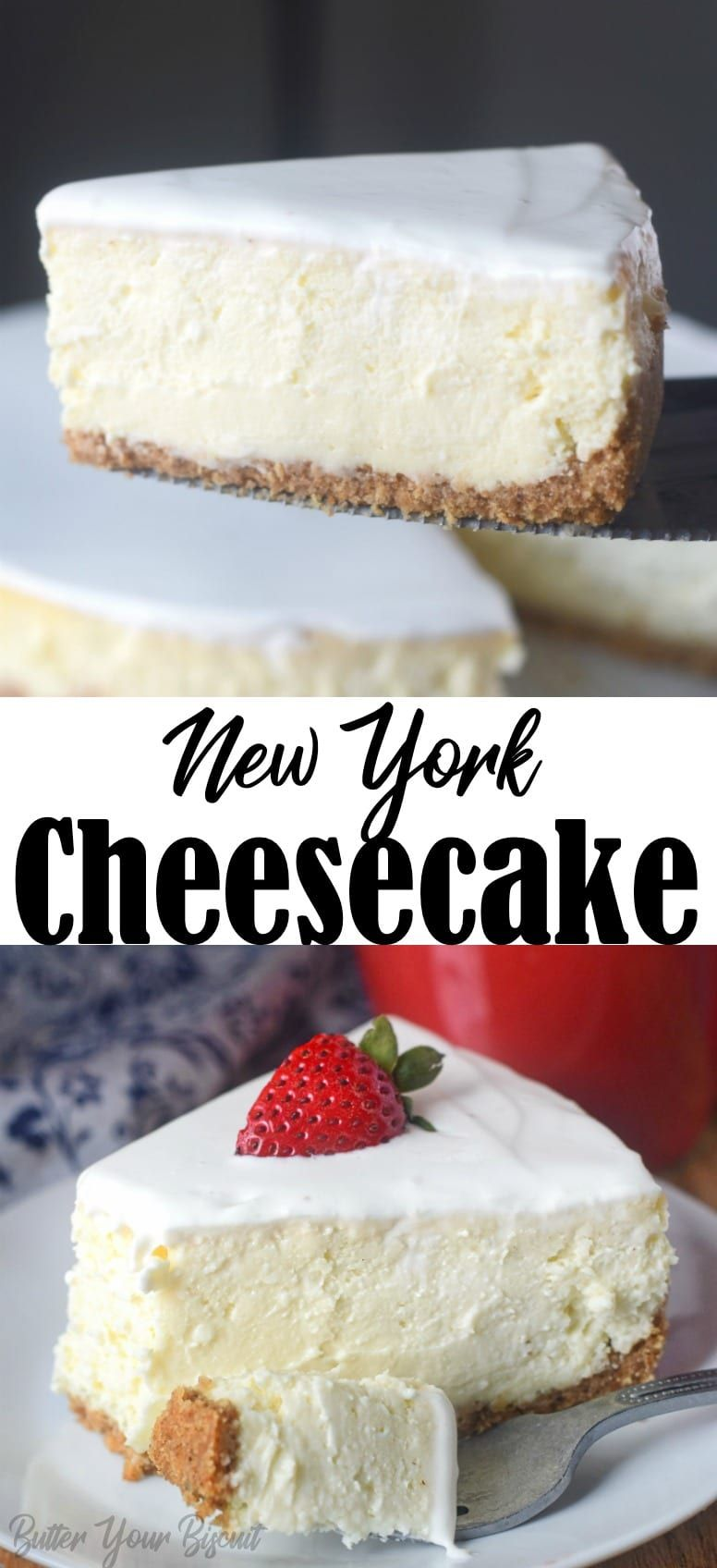 Rich And Creamy New York Cheesecake Butter Your Biscuit Recipe Easy Cheesecake Recipes Cheesecake Recipes Sour Cream Recipes