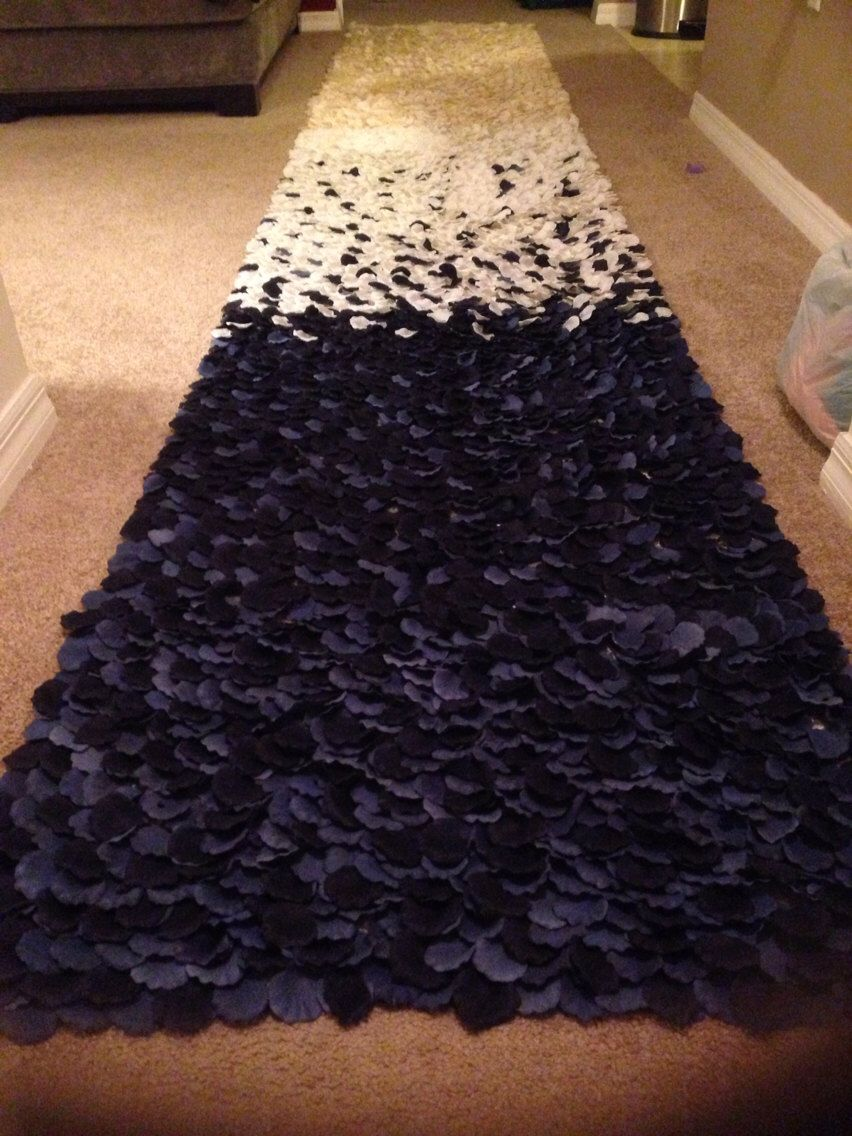 Nautical Navy Ombre Rose Petal Aisle Runner Made To Order See Listing