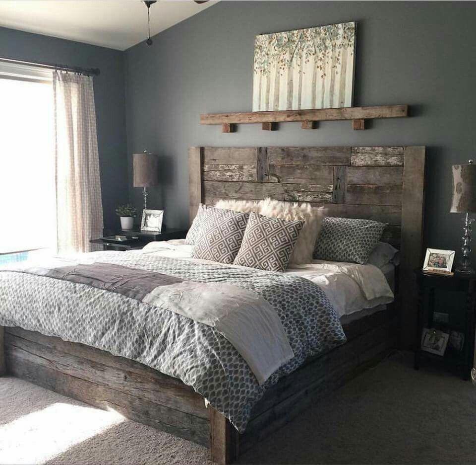 Love The Shelf Above The Bed Rustic Bedroom Design Master Bedrooms Decor Remodel Bedroom