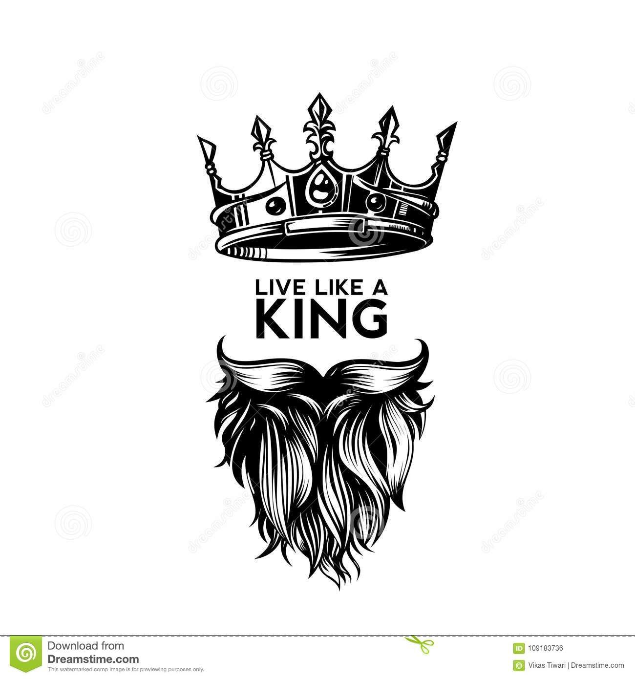 Illustration About King Crown Moustache And Beard On