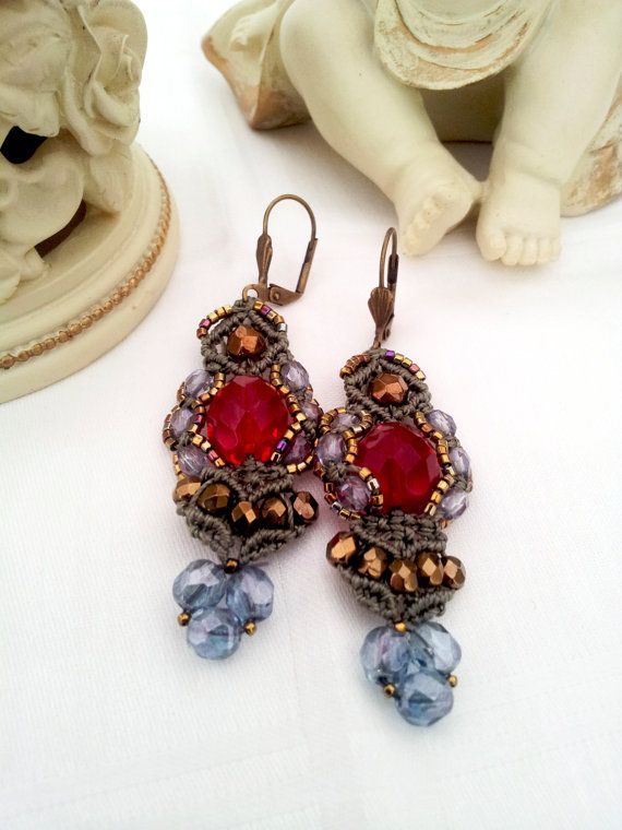 Free shipping.Beaded earrings.Exclusive by Emeliebeads on Etsy, $59.00