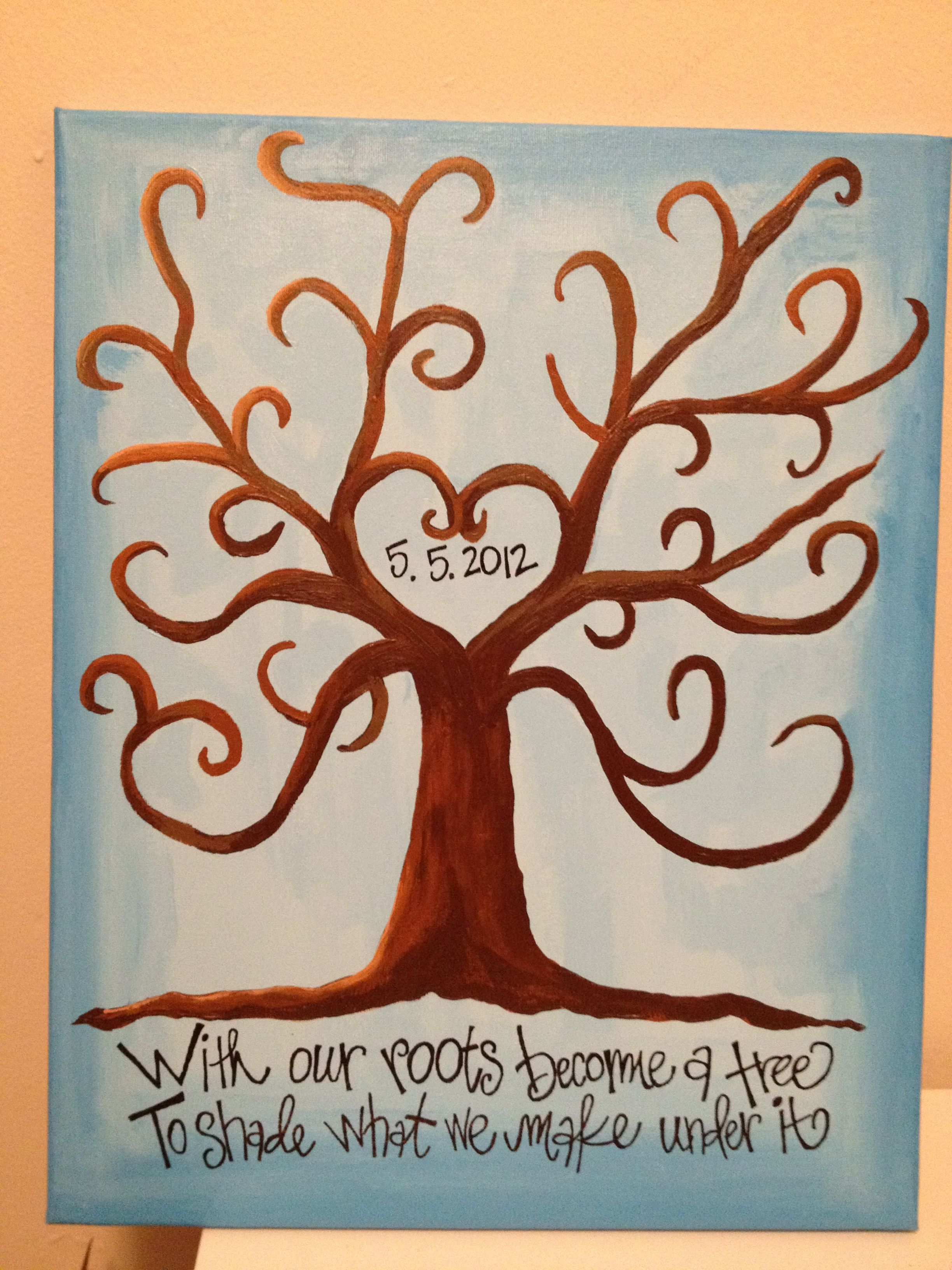I Painted This For My Hubby Our First Wedding Anniversary With A Verse From One Of Fave Songs Every Year We Will Put Thumb Prints Leaves