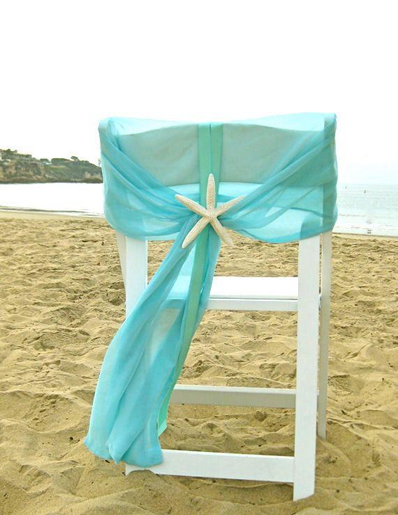 Beach Wedding Aqua Chiffon Chair Caps With Starfish Or Sand