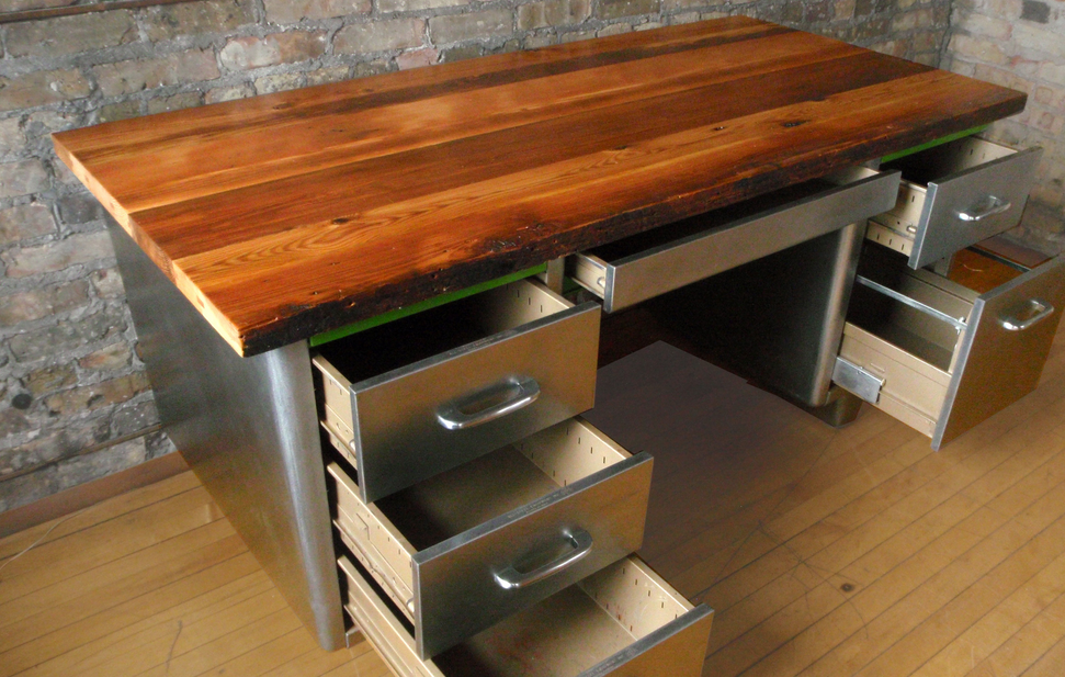 Reclaimed Wood Desk Top Diy Wood Desk Top Cherry Wood Desk