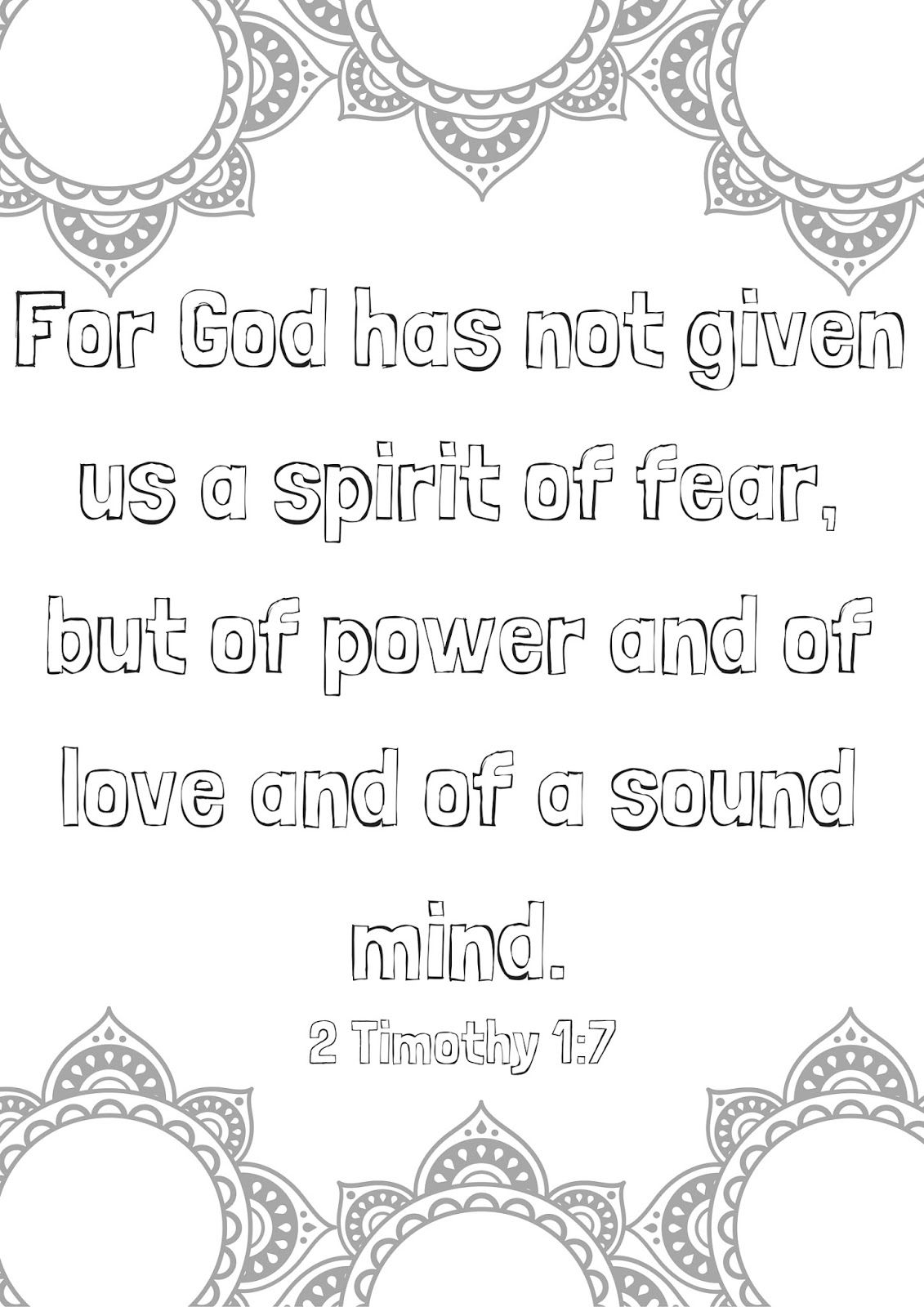 Feel Free To Print As A Coloring Page Go Here To Print Bible Verse Coloring Page 2 Timothy 1 7 Bible Verse Coloring