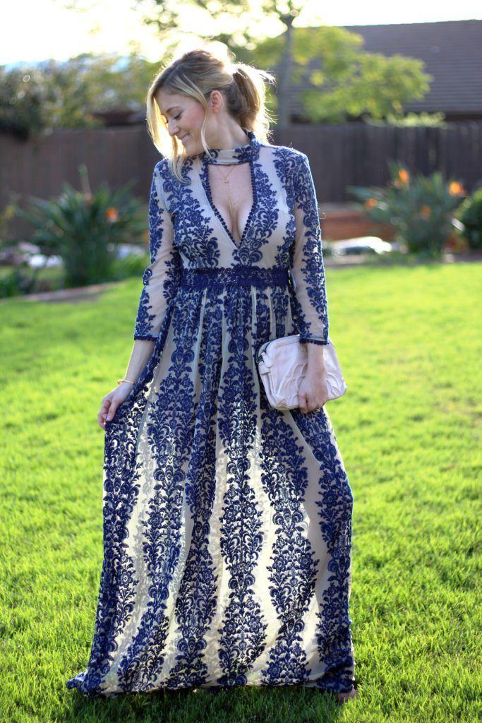 62a6cffc728 wedding guest dress blue embroidery maxi dress