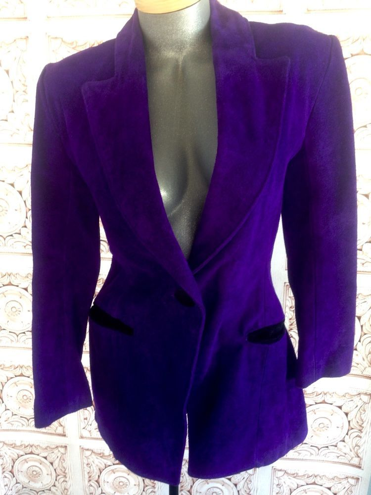 VTG 80s Womens Bright Purple LEATHER Tuxedo Jacket Suede Vintage Small   OuterwearbyPhoenix ed9573822a
