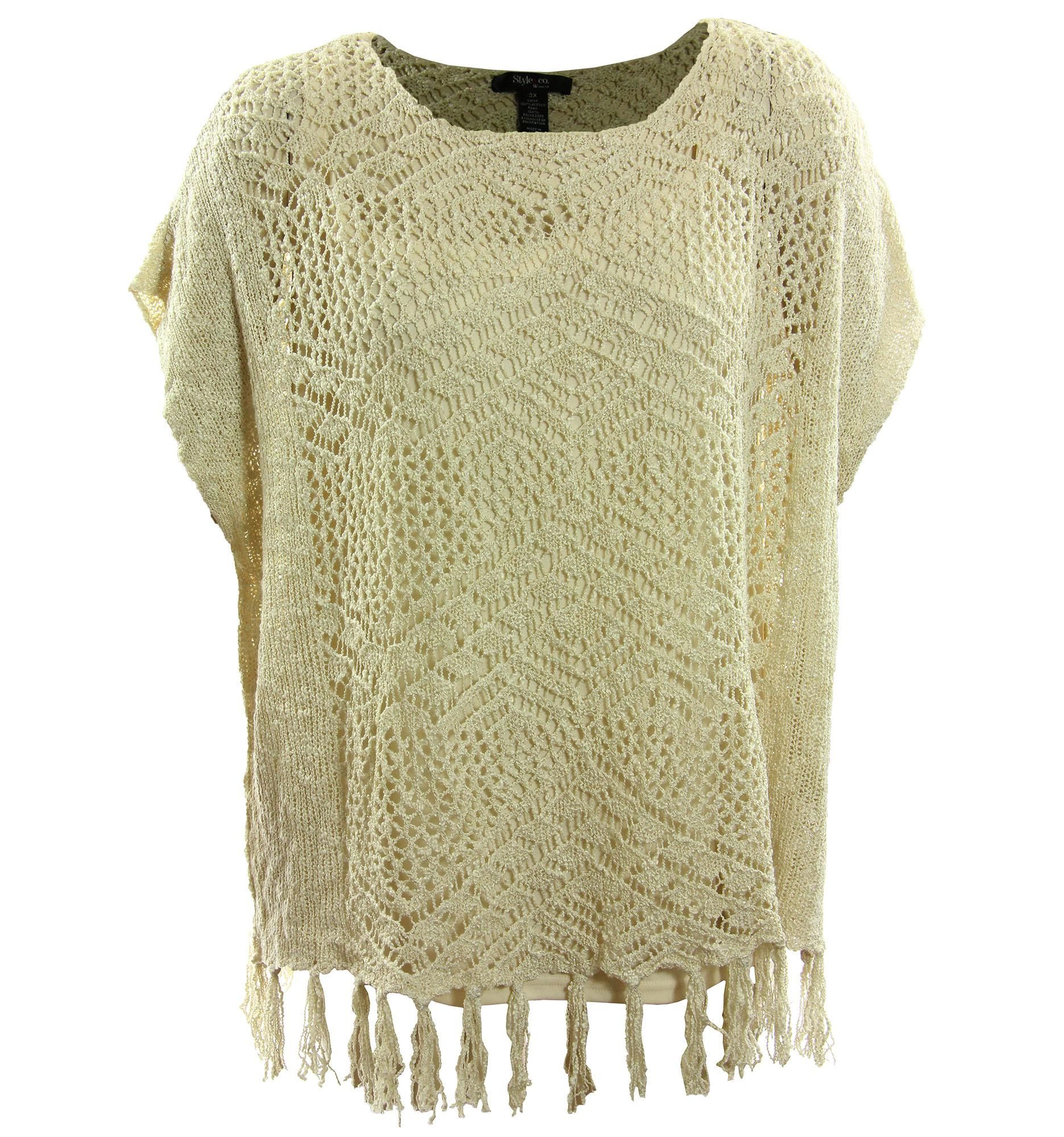 3x Short Sleeve Open Knit Fringed Sweater | Creme brulee, Short ...