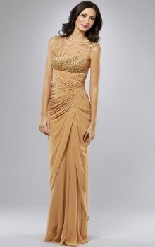 Gold Sheath/Column Bateau Natural Long/Floor-length Sleeveless Sequins Chiffon Prom Dresses Dress