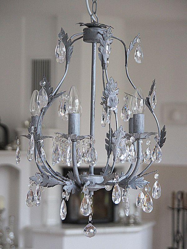 wundersch ner kronleuchter 5 armig aus metall grau antik deckenleuchte shabby chandelier. Black Bedroom Furniture Sets. Home Design Ideas