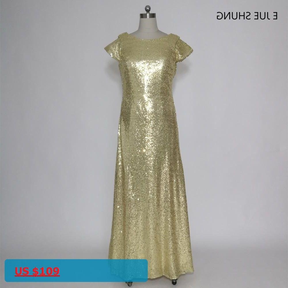 E jue shung gold sequin backless long bridesmaid dresses cap sleeves