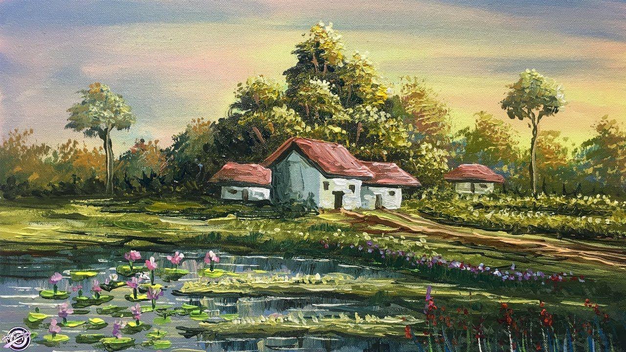 Beautiful Acrylic Landscape Painting Colorful Scenery Painting Natur Scenery Paintings Landscape Paintings Nature Paintings