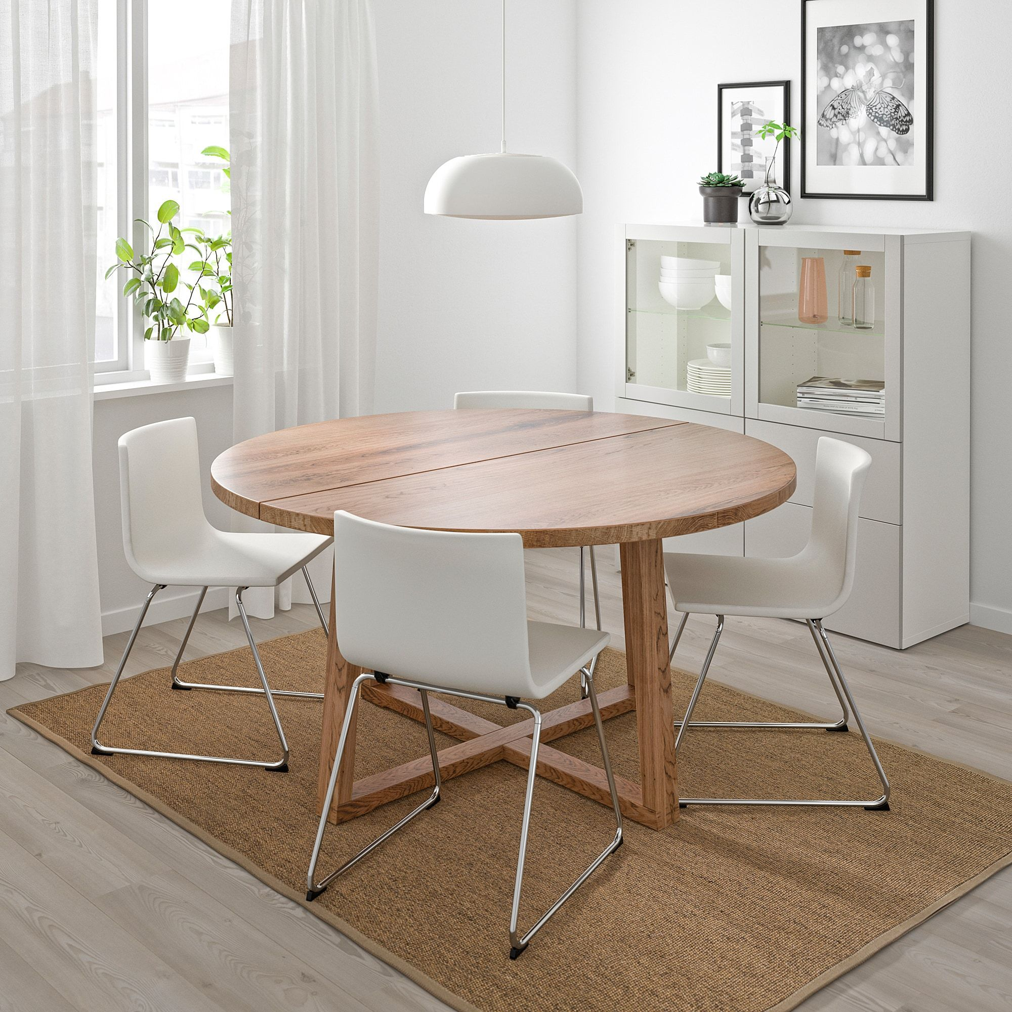 Morbylanga Table Oak Veneer Brown Stained Length 57 1 8 Ikea Ikea Round Dining Table Expandable Dining Table Round Dining Table [ 2000 x 2000 Pixel ]