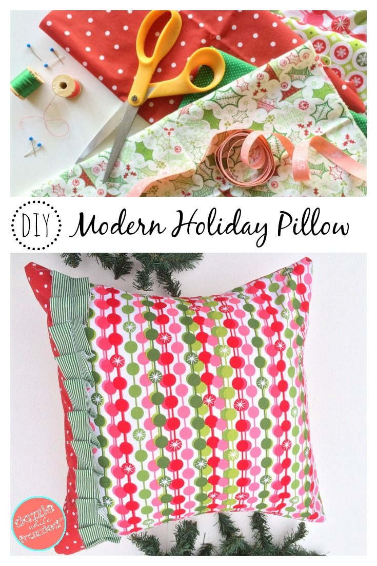 How to make an easy and simple modern DIY Christmas pillow cover using coordinating holiday fabric