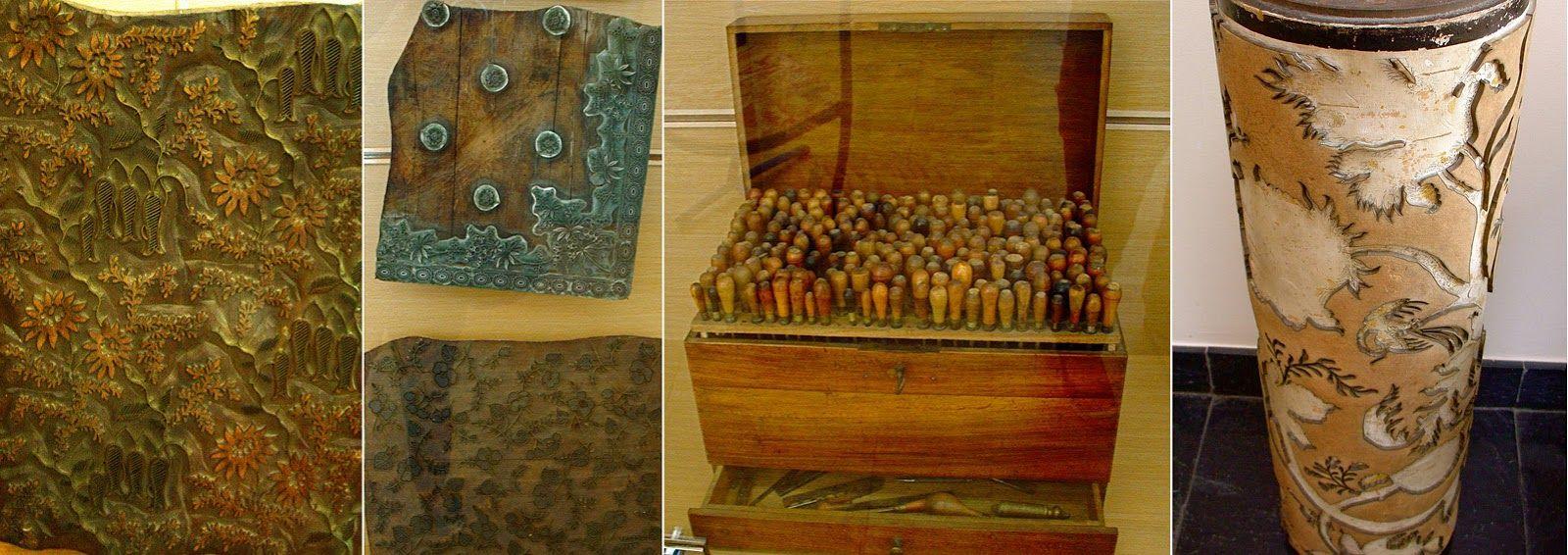à g. : Planche à imprimer en bois ; au centre g. : planche à imprimer en métal On applique une planche par couleur. au centre dr. : outils de graveur ; à dr. : cylindre à imprimer