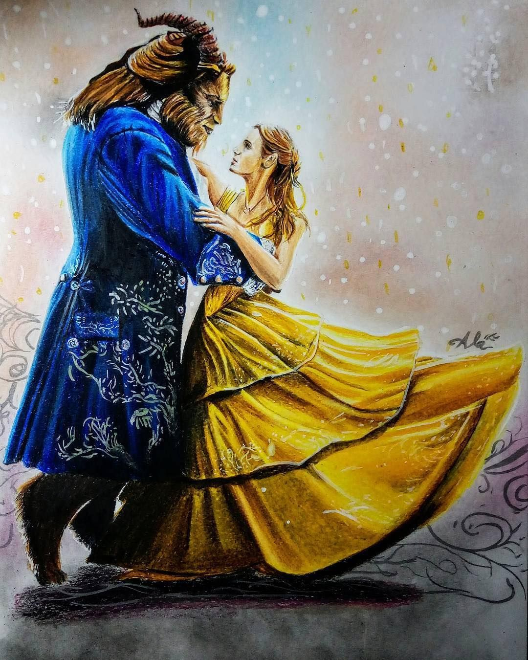 A Stunning Drawing For The Ballroom Dancing Scene Of Belle And The
