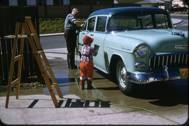 Washing the 1955 Chevrolet. 1950s