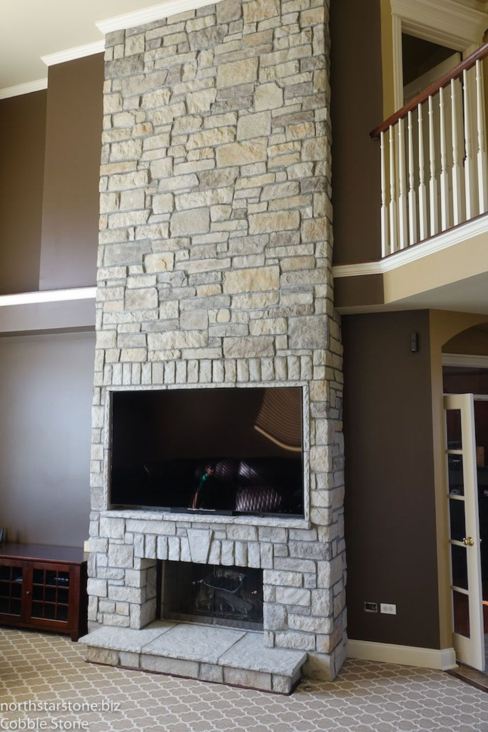 This Fireplace Was Originally All Drywall And We Had To Modify The Framing In Order Create A Built In Tv The Stone Veneer Fireplace Stone Veneer Stone Siding