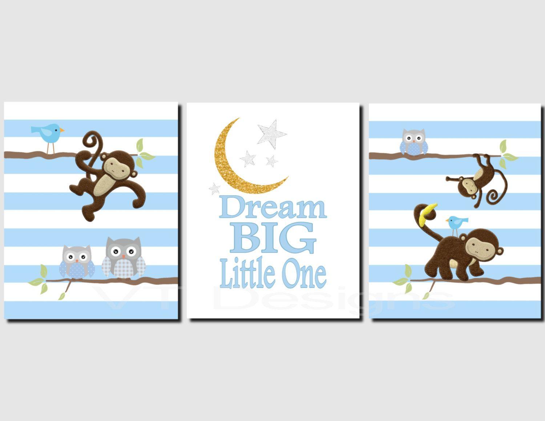 Elephant nursery wall art print mom baby dad by rizzleandrugee - Monkey Wall Art Baby Boy Nursery Kids Wall Art Dream Big Little One