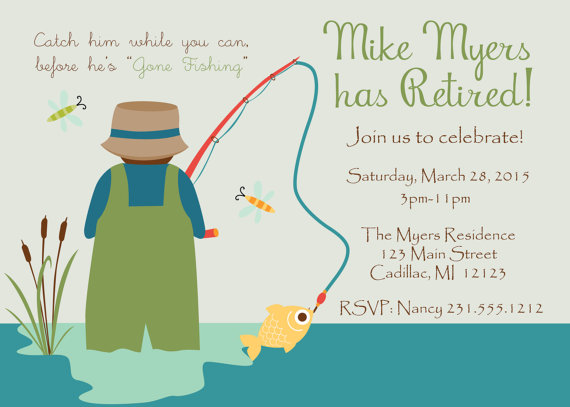 Gone Fishing Retirement Invitation Fun Fishing Theme Invitation