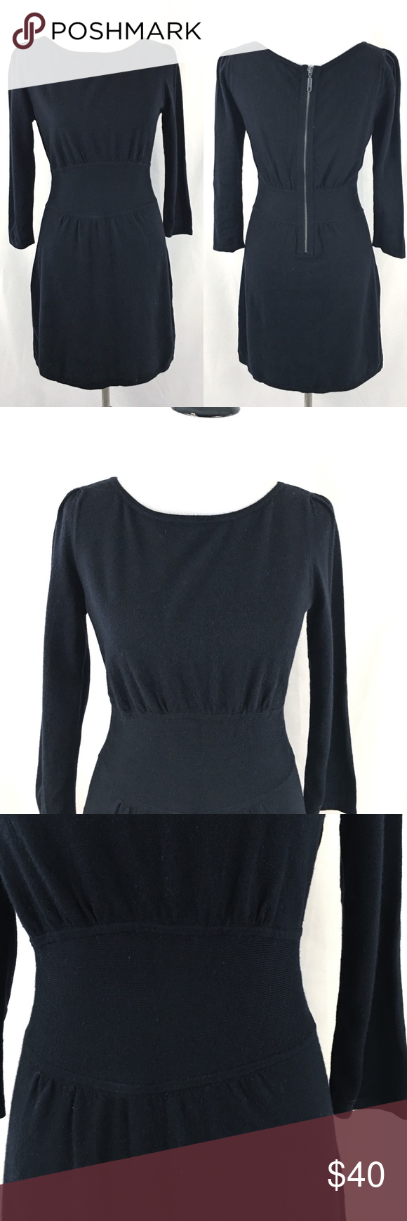 Nwt express black long sleeve mini dress zipper